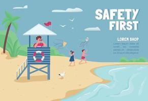 Safety first banner flat vector template. Brochure, poster concept design with cartoon characters. Tropical sand beach lifeguard in tower horizontal flyer, leaflet with place for text