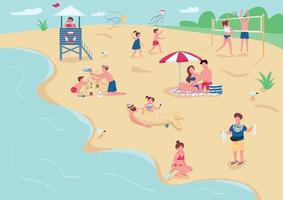 Recreation on sand beach flat color vector illustration. People sunbathing, relaxing on blankets. Children playing, building sandcastle 2D cartoon characters with seascape on background