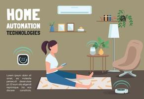 Home automation technologies banner flat vector template. IOT brochure, poster concept design with cartoon characters. Intelligent domestic devices horizontal flyer, leaflet with place for text