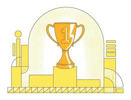 Pedestal with trophy flat silhouette vector illustration. Championship victory, tournament win contour composition on yellow background. First place prize, golden goblet simple style drawing