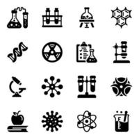 Chemistry and lap Equipment Icon Set vector
