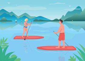 Surf boarding flat color vector illustration