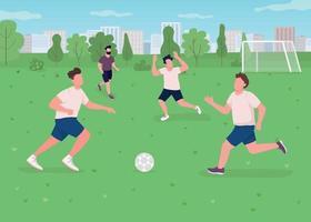 Outdoor football match flat color vector illustration