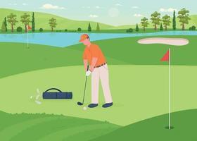 Golf game flat color vector illustration