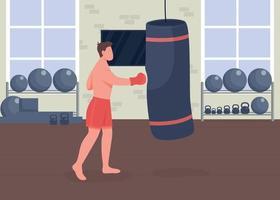 Boxing training flat color vector illustration