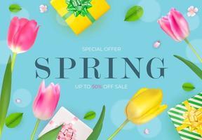 Spring Sale Natural Flowers Background. Vector Illustration EPS10