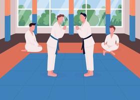 Ilustración de vector de color plano de entrenamiento de artes marciales