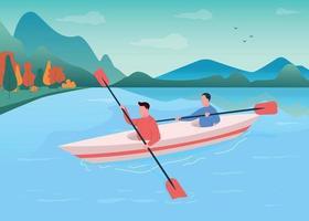 Kayaking flat color vector illustration