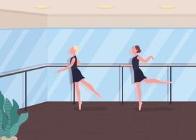 Ilustración de vector de color plano de lección de ballet