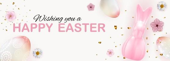 Easter poster template with 3d realistic Easter eggs and paint. Template for advertising, poster, flyer, greeting card. Vector Illustration EPS10