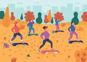 Outdoor fitness flat color vector illustration