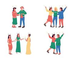 Friends on Christmas party flat color vector faceless character set