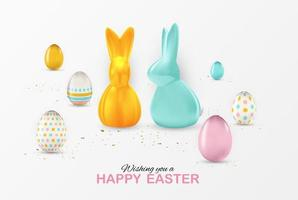 Easter poster template with 3d realistic  Easter eggs. Template for advertising, poster, flyer, greeting card.  Vector Illustration EPS10