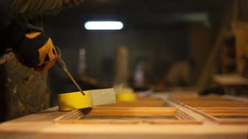 Preparation of doors for painting restoration