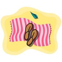 Vector illustration of beach pink towel laying on the sand with women shoes sandals and seashell on top of it. Sandy beach. Summer accessories