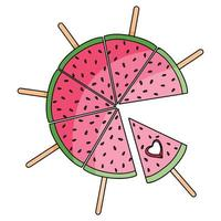 Slice watermelon summer fruit hand drawn vector illustration isolated on white background