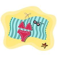 Ilustración de vector de toalla de playa azul tendido en la arena con traje de baño de mujer, gafas de sol concha en la parte superior. Playa de arena. accesorios de verano