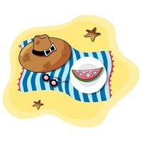 Vector illustration of beach blue towel laying on the sand with white plate and sliced watermelon, summer hat, sunglasses, and sea stars on top of it. Sandy beach. Summer accessories
