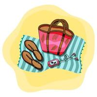 Vector illustration of beach blue towel laying on the sand with beach bag, mp3 player, women shoes on top of it. Sandy beach. Summer accessories.