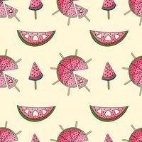 Vector seamless pattern with watermelon slices with hearts on beige background. Summer accessories