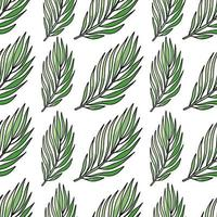 Vector seamless pattern with green tropical leaves, summer hats and women sandals, summertime on white background