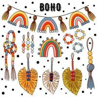 set of modern boho style. Vector hand drawn boho clipart for nursery decoration with cute rainbows. Perfect for baby shower, birthday, childrens party