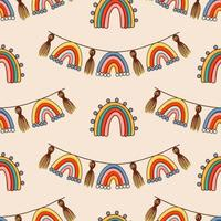 Bohemian, modern boho chic seamless pattern with hand drawn abstract rainbows in scandinavian style vector