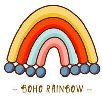 Vector hand drawn boho clipart for nursery decoration with cute rainbows. Perfect for baby shower, birthday, childrens party