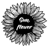 Sunflower flower. Black and white illustration of a sunflower. Linear art. Hand-drawn decorative blooming sunflower element in vector