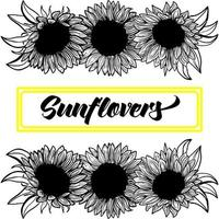 Banner, border, Ink sunflowers on white background for greeting card, line art. Hand-drawn decorative blooming sunflower elements in vector