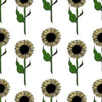 Seamless pattern sunflower flower line art. Black, white and yellow illustration of a sunflower. Hand-drawn decorative blooming sunflower element in vector