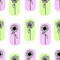 Seamless pattern with black sunflowers vector
