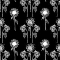 Pattern with white sunflower vector