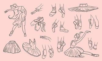 Vector ballet set. Ballerina and pointe shoes.