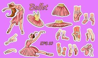 vector conjunto de ballet. bailarina y zapatos de punta. pies de bailarina en zapatillas de ballet. tutús y vestidos de ballet. brazos.