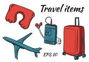 un conjunto de artículos para viajar. una maleta para cosas, un avión, un reproductor de música, almohadas para dormir. vector