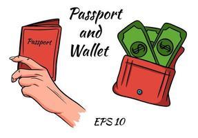 un juego de pasaporte en la mano y una billetera con dinero. vector