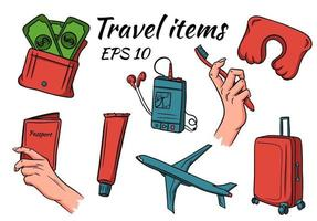 Travel and camping items. Vector set