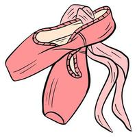 Dance shoes. Ballet pointe shoes. Pink pointe shoes. vector