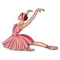 bailarina con zapatillas de punta y un vestido rosa. vector