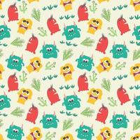 Seamless pattern with cute colorful monsters vector
