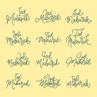 Eid Mubarak. Set of hand written calligraphy for Ramadan vector
