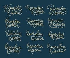 Collection of Ramadan Kareem modern calligraphy vector