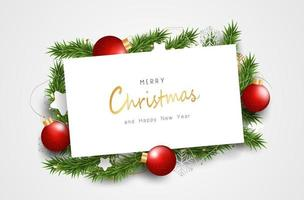 Merry Christmas and Happy New Year background design with lovely elements banner. vector
