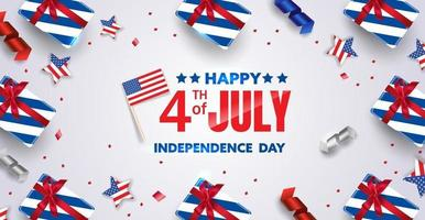 4th of July background design with realistic lovely elements. EPS10 vector illustration.