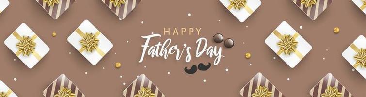 Feliz día del padre fondo o banner con elementos realistas. vector