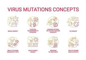 Virus mutations concept icons set vector