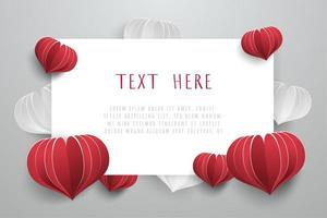 Love card background with heart paper cut style element. vector