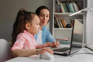 Parent and child learning from home