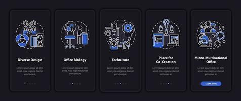 Pantalla de la página de la aplicación móvil de incorporación de tendencias en el lugar de trabajo con conceptos vector
